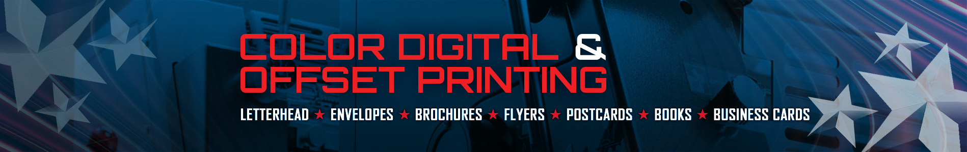 Digital Color Printing - Letterhead & Envelopes - Brochures - Flyers - Postcards - Books - Magazines